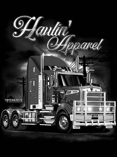 HAULIN 909 KENWORTH HOODIE BLACK AND WHITE
