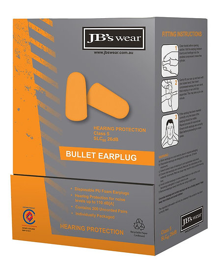 BULLET SHAPED EARPLUG 200 PAIRS