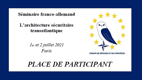 Place de participant (tarif réduit) / Teilnehmerplatz (ermäßigter Preis)