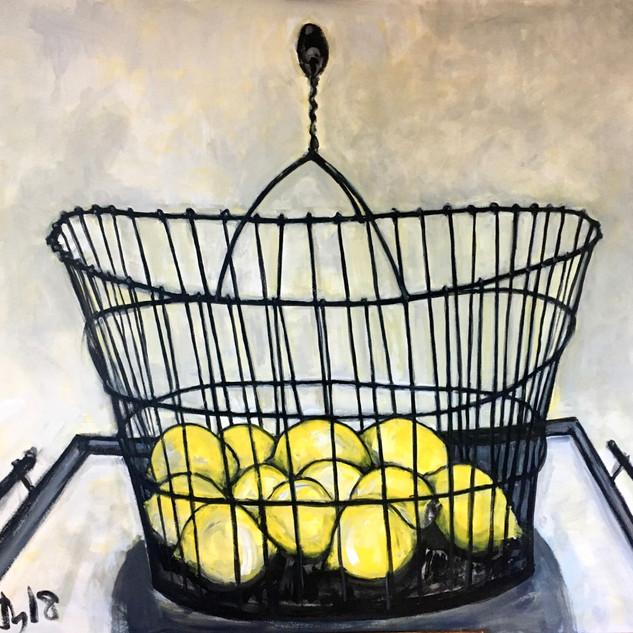 Lemons in Wire Basket