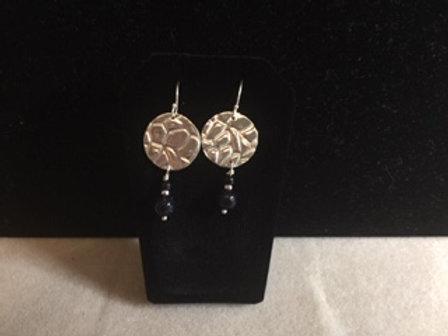 Stone Texture Disc Earrings w/Blue Sandstone Beads