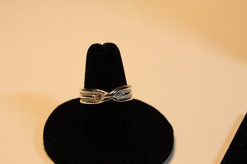 Coil wrap over ring w/round diamond cz's