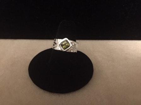 Swirl Texture Ring w/Olivine CZ
