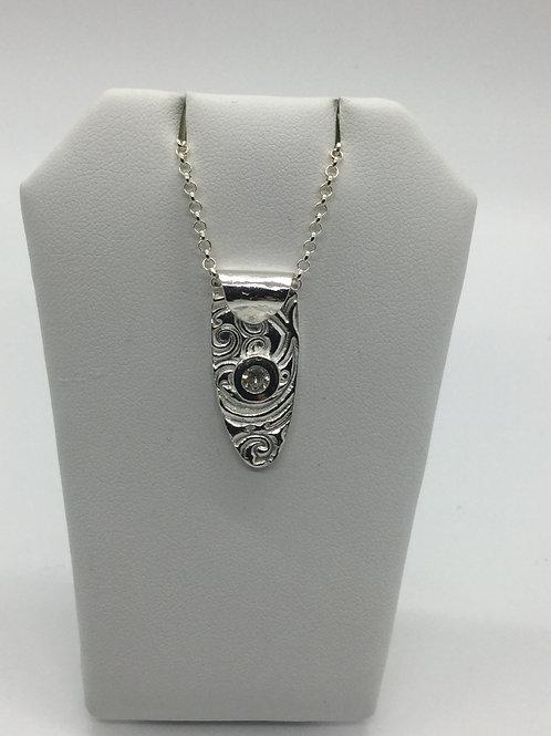 Teardrop textured pendant w/Diamond cz