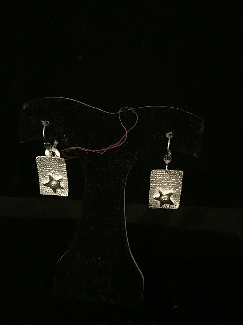 Linen Texture Star Earrings