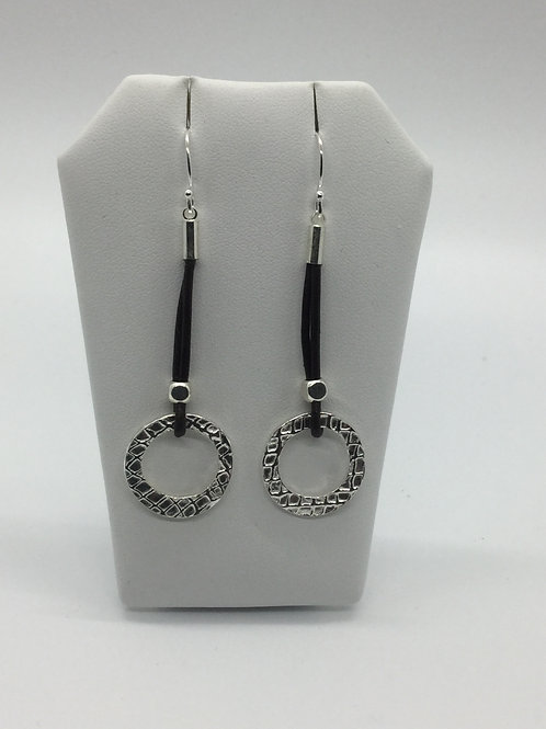 Leather cord drop double textured open circle earrings