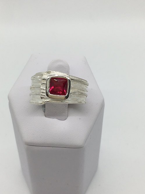 River Texture Wrap Ring w/Square Ruby CZ