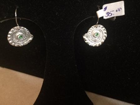 Ammonite Earrings w/green cz