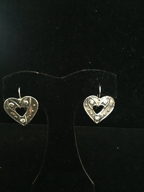 Open Heart Three Diamond CZ Earrings