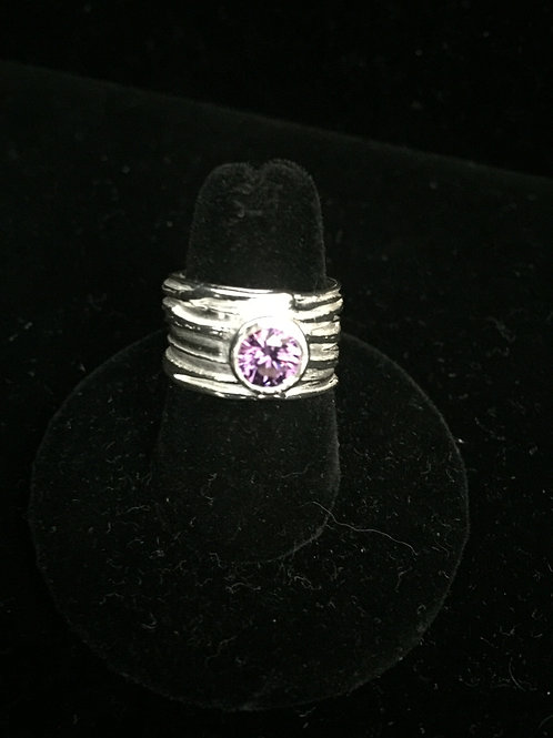 River Texture with Amethyst CZ Ring