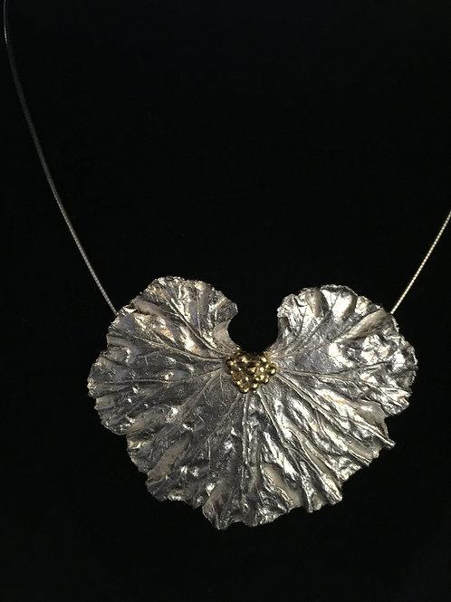 Large Geranium leaf Pendant with 22kt gold