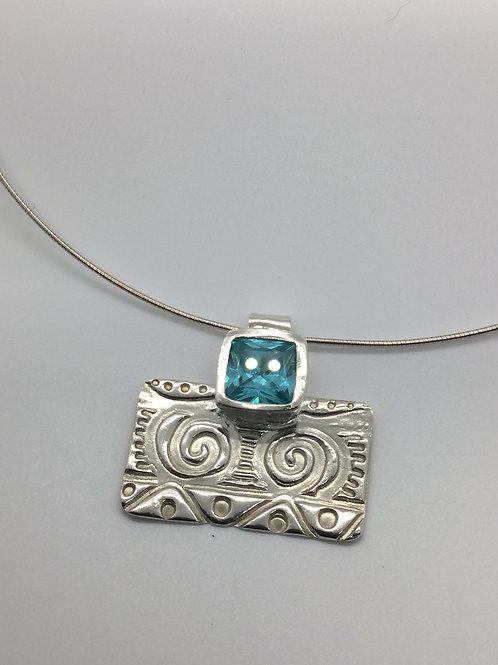 Aztec Pendant w/Blue Topaz cz