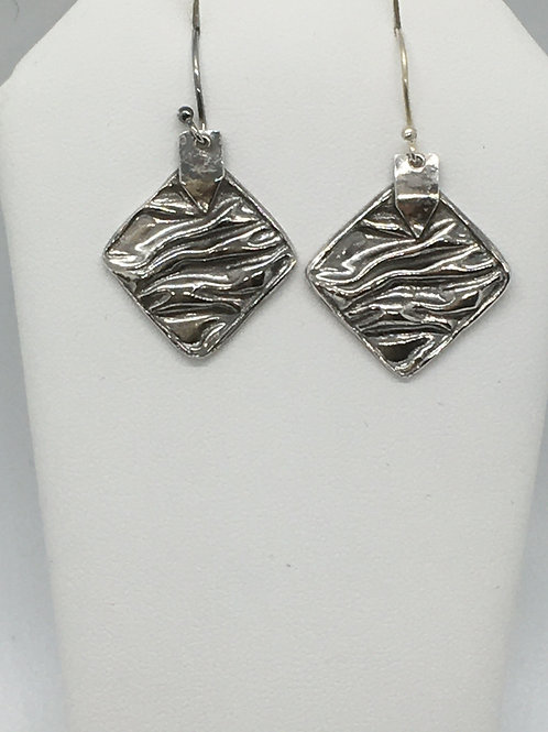 Wrinkled Antiqued Single drop Earrings