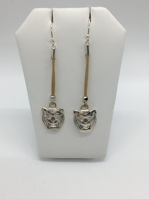 Gold Leather cord drop Tiger earrings