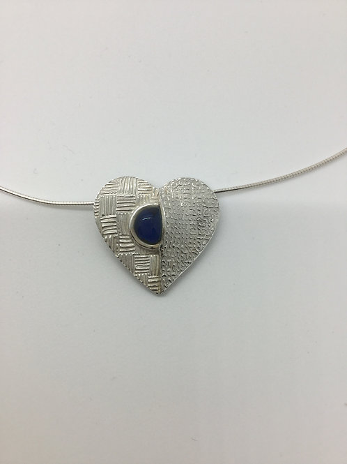 Peek a boo Blue Glass Cabochon Heart Pendant
