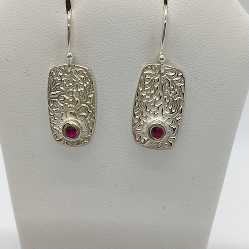 Organic textured Rectangular Earrings w/ round ruby cz