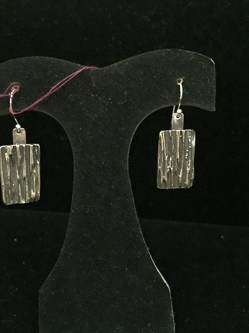 River Texture Antiqued Rectangular Earrings