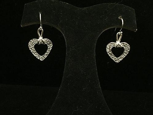 Vine Texture Open Heart Earrings