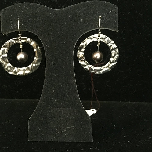 Stone Texture w/Brown Pearl Earrings