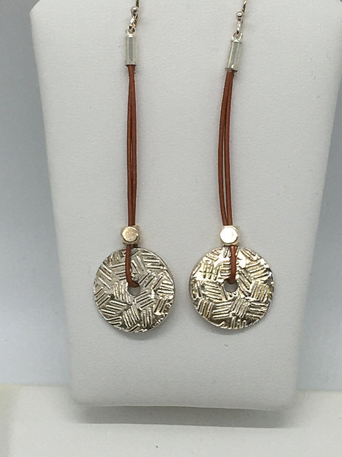 Leather cord drop double textured circle earrings