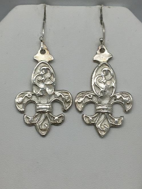 Fleur de Lis Scrolled Earrings