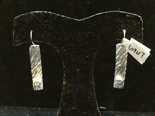 River Texture Rectangle Earrings w/Lavender CZ