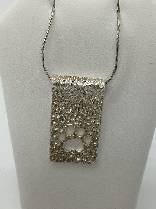 Foil Texture w/paw cut out Pendant