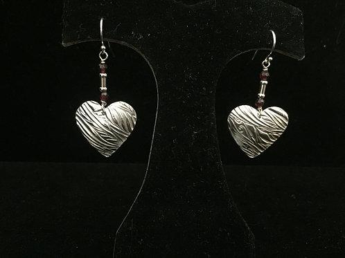 Swirl texture Heart w/ruby beads Earrings