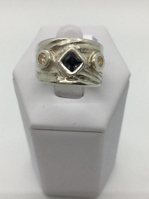 Three stone Textured Ring