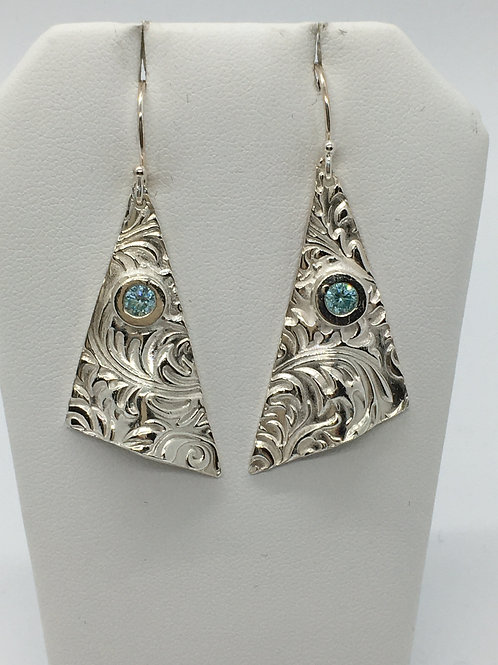 Leaf Swirl Texture earrings with light blue topaz cz