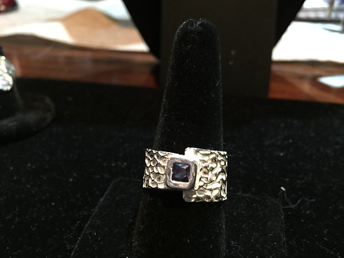 Foil Texture wrap with Tanzanite CZ Ring