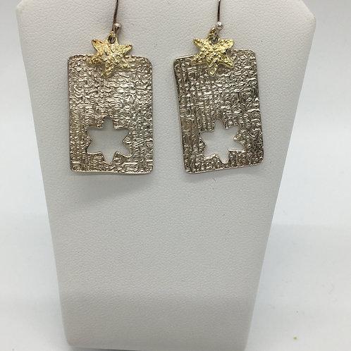 Linen Textured star cut out w/gold star Earrings