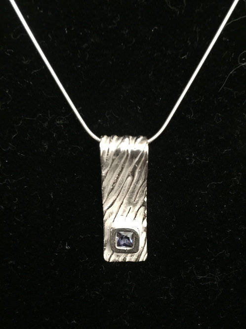 River Texture Rectangle w/Tanzanite CZ Pendant
