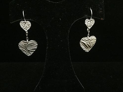 Swirl/vine Texture Double Heart dangle Earrings