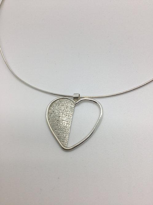 Linen/Coil Heart Pendant