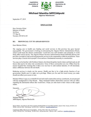 Open letter to Minister Elliott regarding cuts to ADSAB services