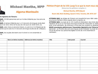 """""""Till Death Do Us Part Act"""" petition from MPP Michael Mantha"""