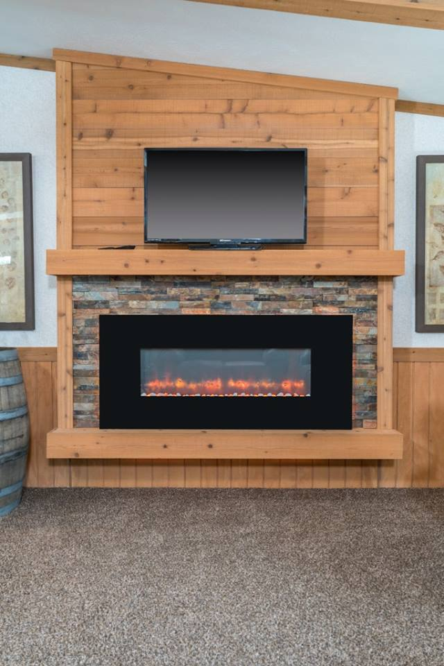 LED Fireplace with Cedar