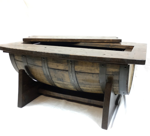 Half barrel coffee table with cradle columbus barrel co for Table 6a of gstr 1