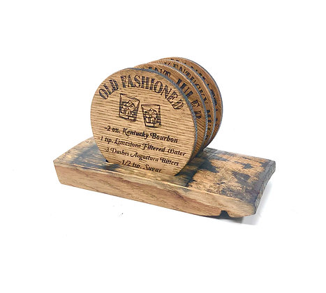 Barrel Wood Recipe Coaster Set