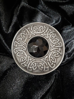 Pewter Plaidie Broach with Dark Stone