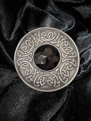 Pewter Plaidie Broach with Dark Stone
