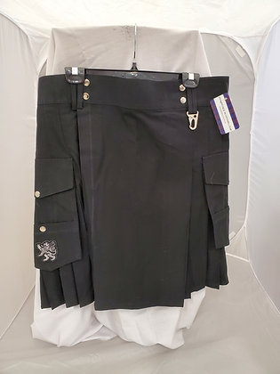 Black Utility Kilt Rampant Lion Pocket
