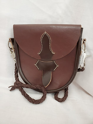 Handmade Brown and Red Cowhide Casual Sporran