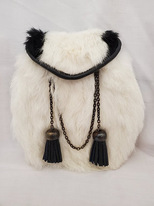 White and Black Rabbit Dress Sporran with Chain