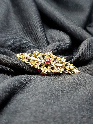 Ruby & Pearl Gold Broach
