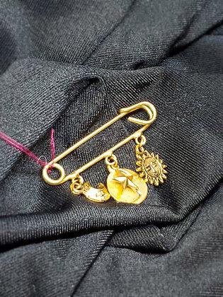 Pin w/Sky Pendants Gold Broach