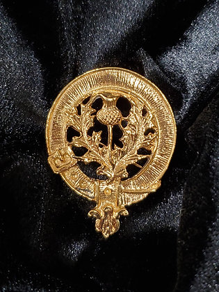 Scottish Thistle Clan Crest Badge in Gold Bath