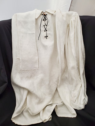 Handmade White Collared Damask Linen Outlander Shirt w Laces & Stock; XLarge