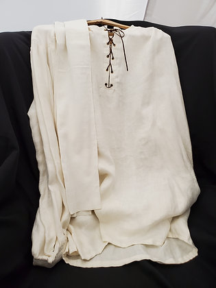 Handmade Cream Damask Linen Outlander Shirt with Laces and Stock Size Large